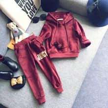 2016 new girls Korean fashion sportswear Burgundy hooded long sleeved sweater Shorts 2 piece set free