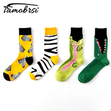 HOT Novelty Animal Mouth Zebra Stripes Cartoon Funny Crazy Winter Sox Women Streetwear Happy Socks Men Cotton Thick Warm