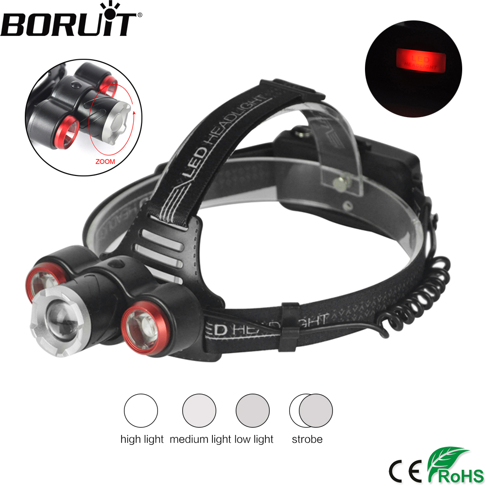 BORUiT XQ-117 T6 LST LED Headlamp Zoomable 4-Mode Headlight IPX4 Waterproof Head Torch Camping Fishing Flashlight 18650 Battery