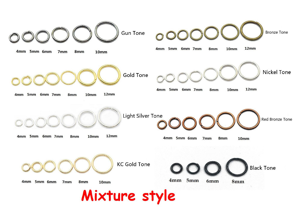 Mix style 200pcs/lot 4mm-12mm Open Jump Rings Bronze/Gunblack/Rose gold/Silver Link Loops for DIY Jewelry Making Open Connector 200pcs lot 2sa950 y 2sa950 a950 to 92 transistors