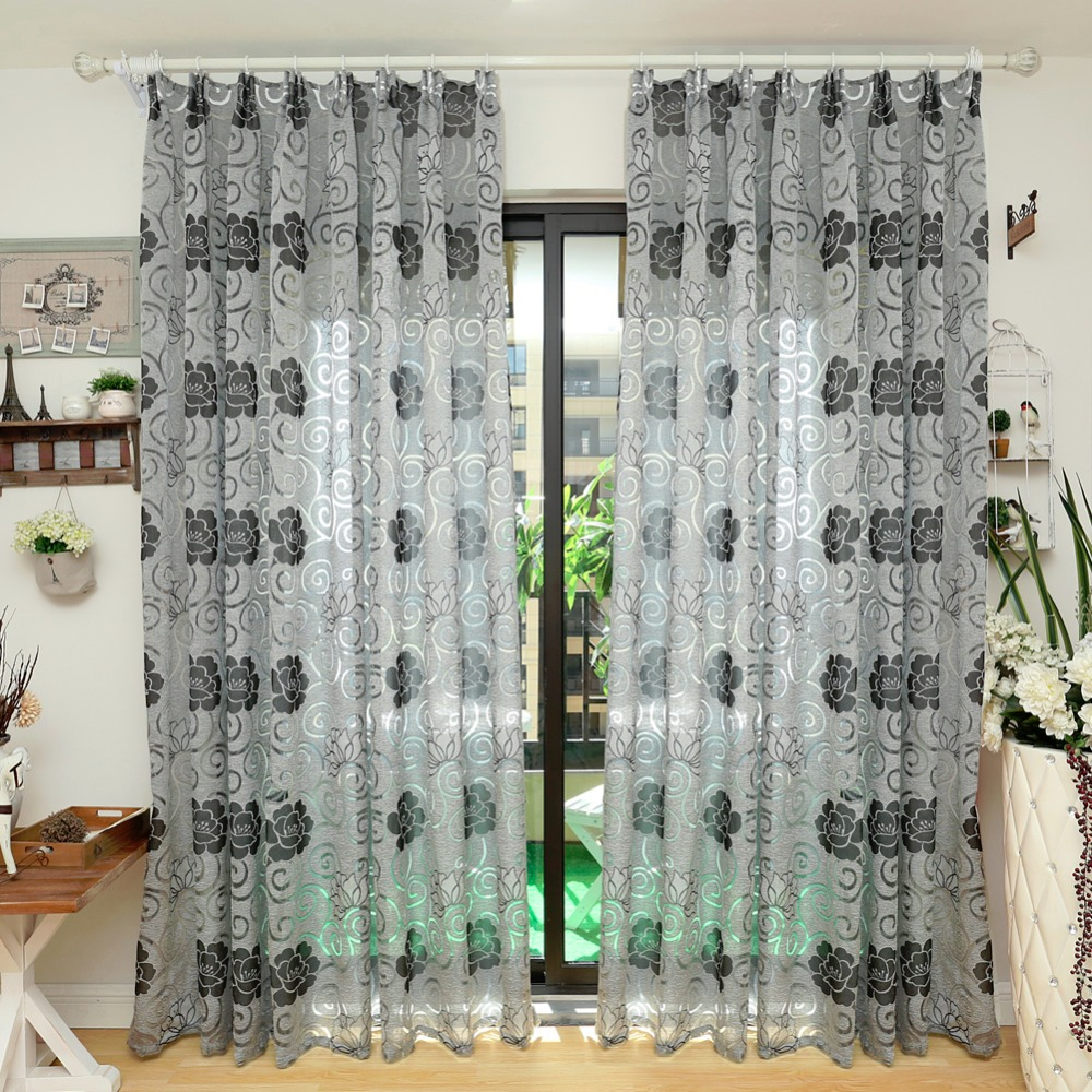 NAPEARL Rustic floral design coffee curtain kitchen 3d curtains home  textile decoration living room window curtain panel curtain