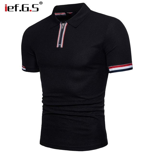 IEF.G.S 2018 Summer Fashion lapel Tees Shirt Men Solid Color Zipper British Style Short Sleeve Casual poloshirt Clothing