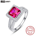 Luxury 1.75ct Princess Red Ruby Jewelry Genuine 925 Sterling Silver Jewelry 2016 Brand New For Women Fine Jewelry