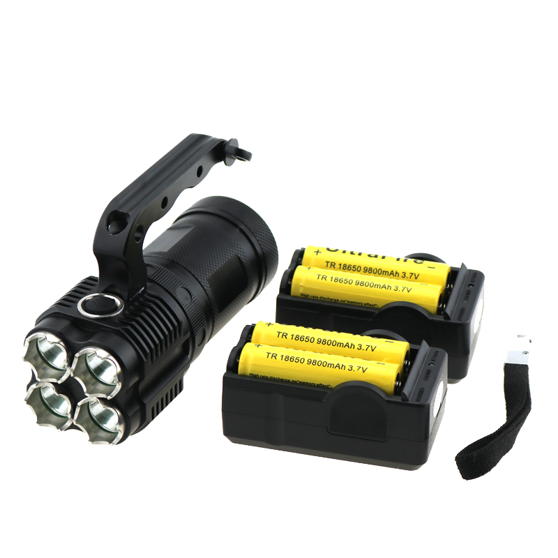 Portable UF T90 5000 Lumens 4x Cree XM-L T6 Led Flashlight 4T6 Led Lantern Torch Lamp 3 Modes + 4x 18650 Battery + 2 x Chargers cree q5 600 lumens 3 modes led flash light zoomable focus led hunting lantern tactical flashlight 18650 5000 mah battery charger