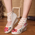 2017 New Women's National Wedges Shoes Retro Old Peking high heeled Lace up Canvas with Flower Embroidery Soft Shoes