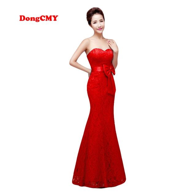 99b4631f3545 DongCMY cremallera estilo largo nuevo vestido de noche 2019 color rojo más  tamaño bata de encaje de sirena para mujer