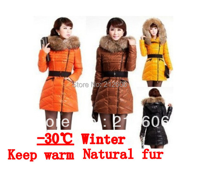 Hot Selling 2014 Women's Long Winter Jackets Large Yards Thicking Padded Down Fashion Female Slim Fur Collar Coat