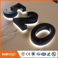 Aliexpress Factory Outlet Back Lit Stainless Steel LED Home Number House Number 3D Led Doorplate Number