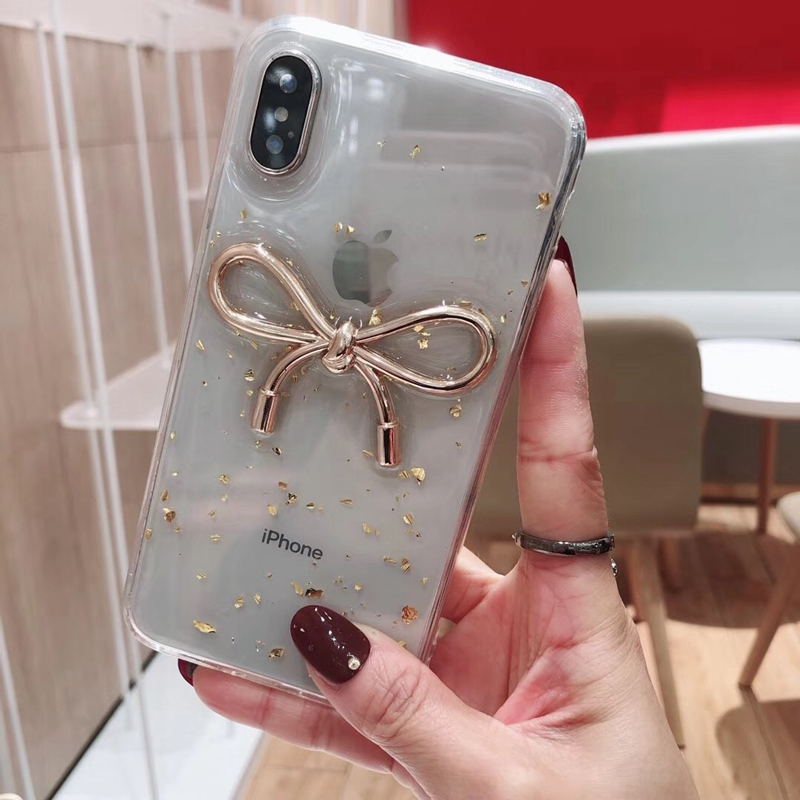 Tfshining Fashion Bow Tie Phone Cases For iphone X XR XS Max 6 6s 7 8 Plus Gold Foil Glitter TPU Clear Cover Coque For Girls Hot (4)