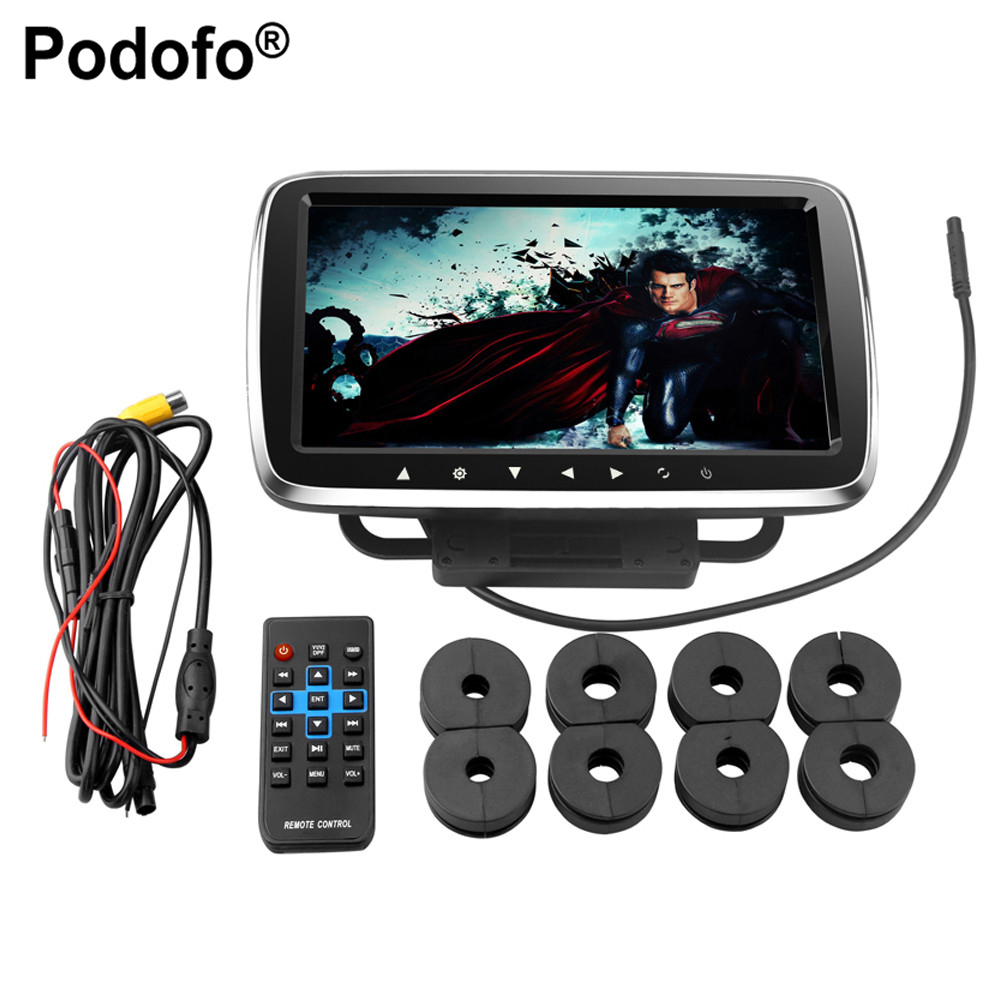 Podofo 9 Car Headrest Monitor With DVD Display Screen KTV Music Player Support 1080PHD Movies + Headphone Two Video Input car headrest 2 pieces monitor cd dvd player autoradio black 9 inch digital screen zipper car monitor usb sd fm tv game ir remote