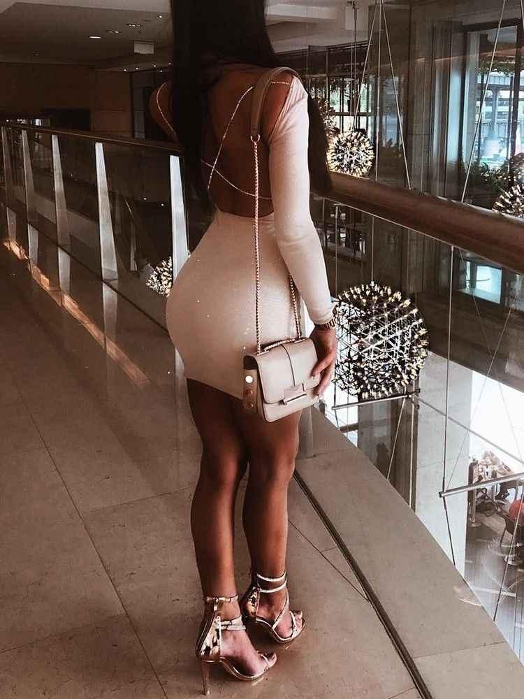 Mini vestido blanco de manga larga de moda de cóctel de fiesta ajustado sin espalda de Otoño de 2018