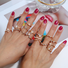 L&H 16PCS/Set High Quality Women Rings Set Classic Simple Water Drop Shine Rhinestone Jewelry Accessories For Weddings