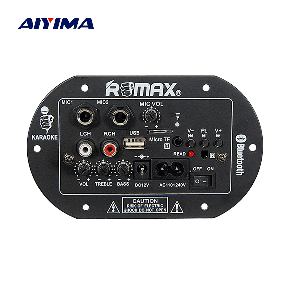 Aiyima Bluetooth Subwoofer Car Home Power Amplifiers Board Amplifier Amplificador 12v220v With Dual Microphone Diy For Theater In From Consumer