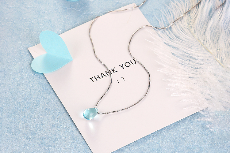 Anenjery Literary Artificial Blue Crystal Water Drop Necklace 925 Sterling Silver Clavicle Chain Necklace For Women Girl S-N292 19