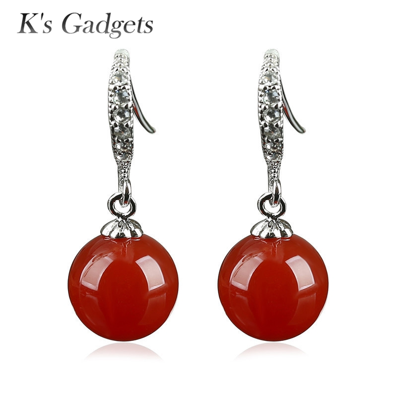 Women Earrings Natural Red Stone Minimalist Round Ball Silver color  Crystal Rhinestone Dangle Earrings Accessories