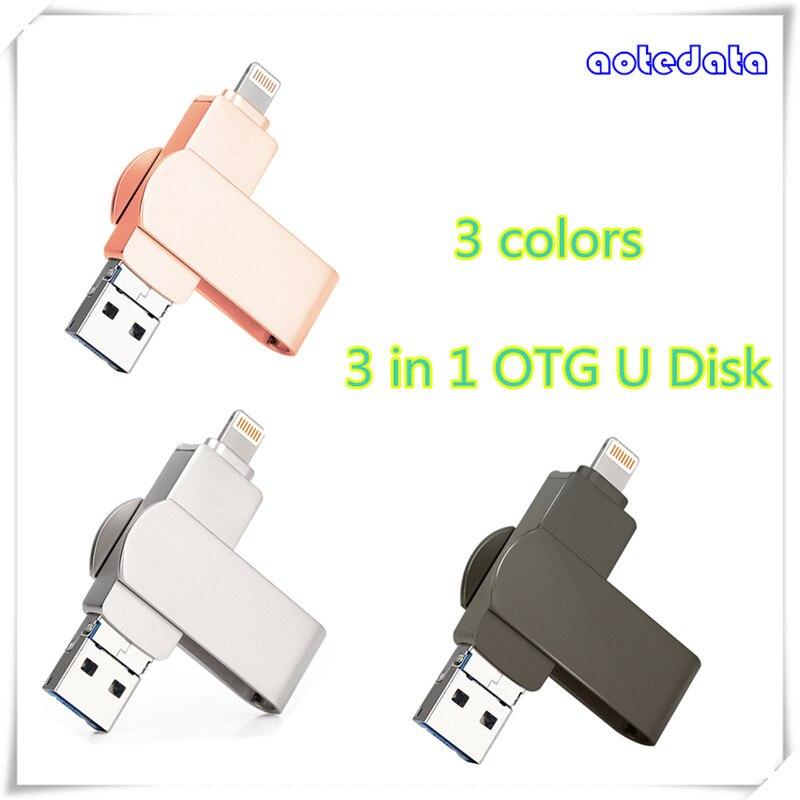 3in1 tourner FlashDrive 4 GB 8 GB 16 GB 32 GB 64 GB 128 GB USB2.0 Flash Stick clé lightning USB Android interface U disque
