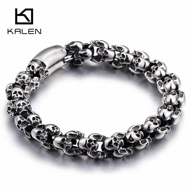 Kalen Punk 22.5 cm Long Crâne Bracelets Pour Hommes En Acier Inoxydable Brillant Crâne Charme Lien Chaîne Brecelets Mâle Gothique Bijoux 2018