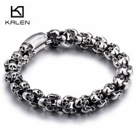 Kalen Punk 22 5cm Long Skull Bracelets For Men Stainless Steel Shiny Skull Charm Link Chain