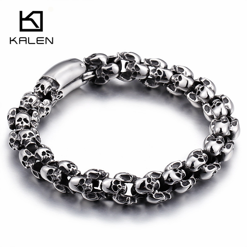 Kalen Punk 22.5cm Long Skull Bracelets For Men Stainless Steel Shiny Skull Charm Link Chain Brecelets Male Gothic Jewelry 2018