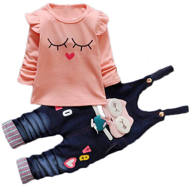 Ropa de las muchachas Set Nuevos Ropa de Los Niños Encantadores Camisetas + Denim Mono de Dibujos Animados Bebé Ropa de Niños Ropa de Las Muchachas
