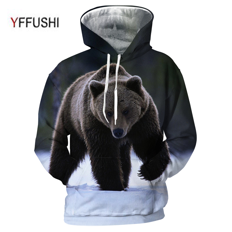 YFFUSHI 2018 3D Men Women Hooded Pullover Fashion Polor Bear 3d Sweatshirts Casual Pocket Outwear Novelty Coat Plus Size 5XL