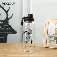 NOCCOL Basketball Man Print Glass Bottles 2018 Outdoor Sport Camping Coffee Water Bottle 1000ml Friend Drinkware Botella De Agua