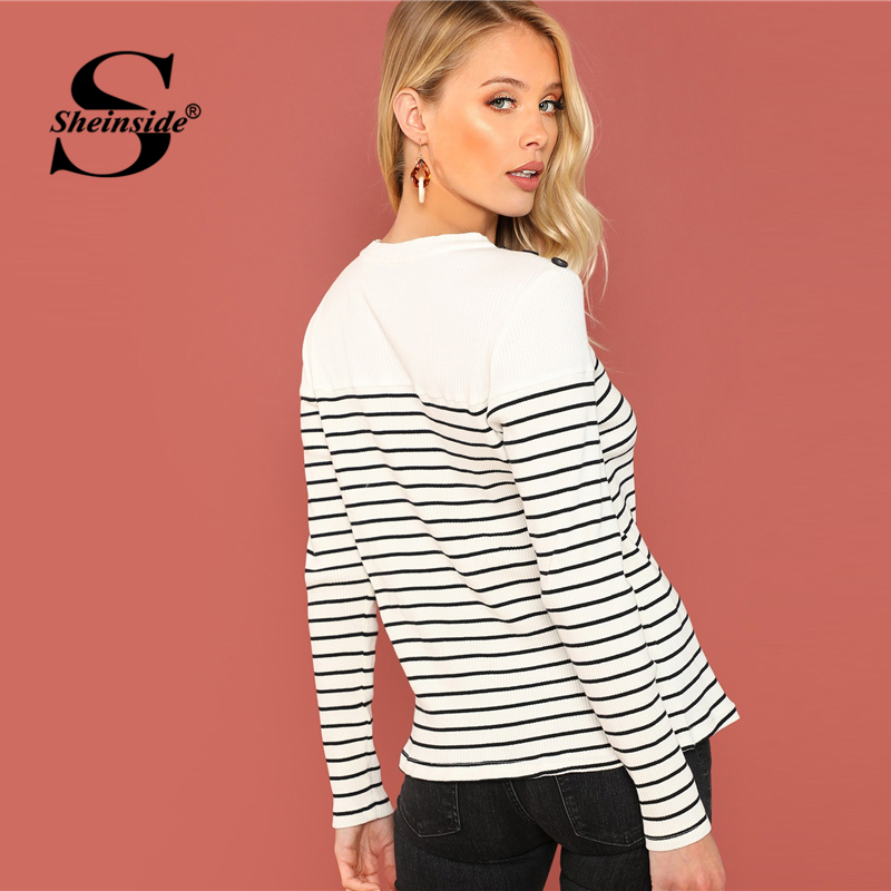 22ea2cf055 Sheinside Button Detail Rib Knit Striped Tee Black and White Round Neck  Long Sleeve Slim Fit T shirts Women Autumn Workwear Tops-in T-Shirts from  Women's ...