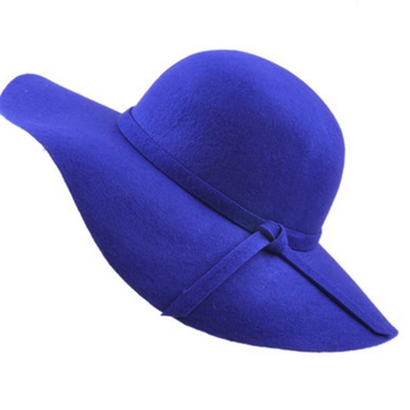 Spring winter autumn Fashion Vintage Wide-Brim Fedoras Felt Hats for Women Bowler Floppy Feminino Sun Cap Ladies Chapeau