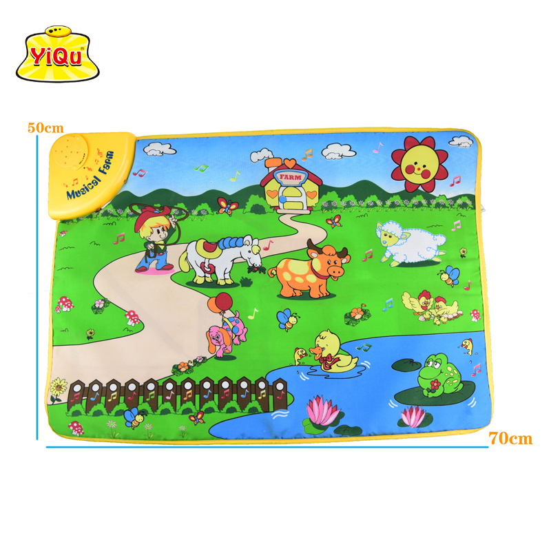 New learn&education Music Sound Farm Animal Touch baby Play Singing mat baby gym carpets for children toy developing mat 70*50
