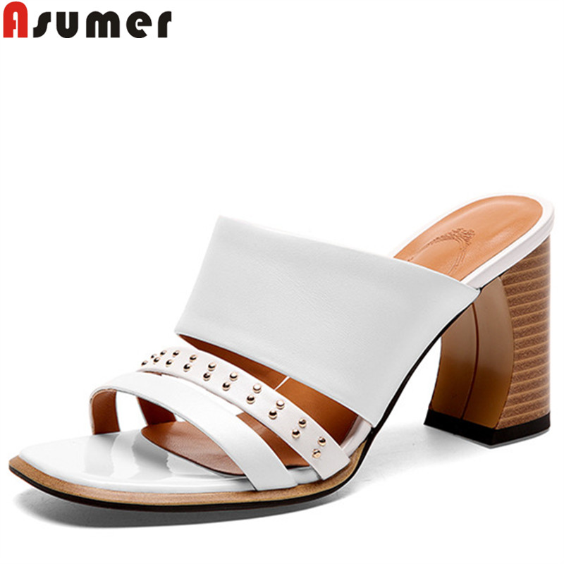 ASUMER 2019 new summer sandals for women slingback high heels shoes female shallow genuine leather shoes women sandals ASUMER 2019 new summer sandals for women slingback high heels shoes female shallow genuine leather shoes women sandals