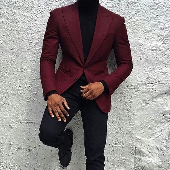 2017 Latest Coat Pant Designs Burgundy Men Suit Jacket Groom Style Suits Slim Fit 2 Piece Tuxedo Custom Prom Blazer Masculino