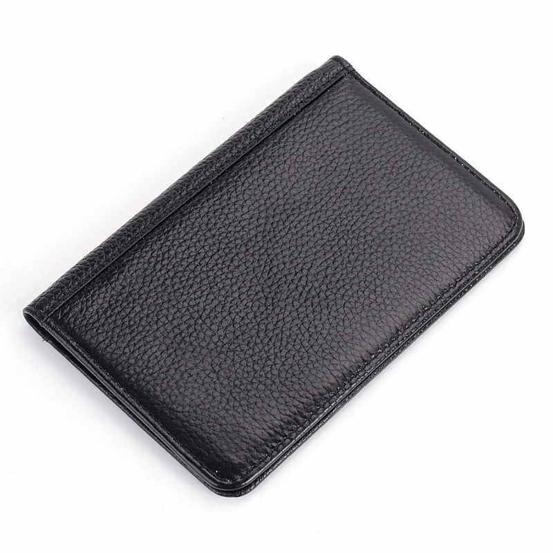 Подлинный кожаный паспорт кошелек RFID Защита кредитных держатель для карт высокое качество Дорожная сумка чехол для паспорта черный кошелек Для мужчин R6