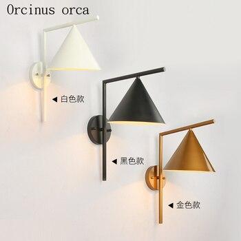 American industrial wind iron art wall lamp living room corridor bedroom bedside lamp Nordic modern simple LED wall lamp