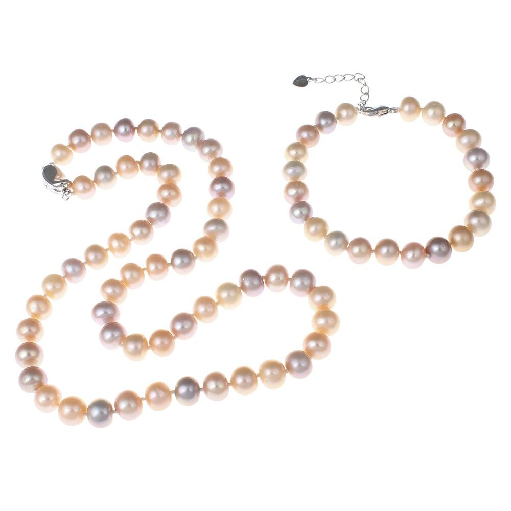 Collier de bijoux en perles d'eau douce naturelles ensembles de nouveaux bijoux de mariée de mariage de mode blanc rose violet Bracelet de perles ensemble de collier