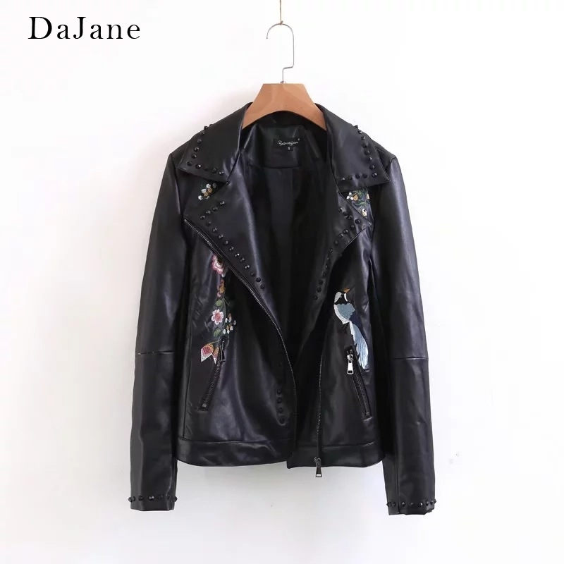 Women's Autumn Winter New Embroidered Rivet   Leather   Jacket long-sleeved Short Coat Manufacturers   Leather   Jacket Women