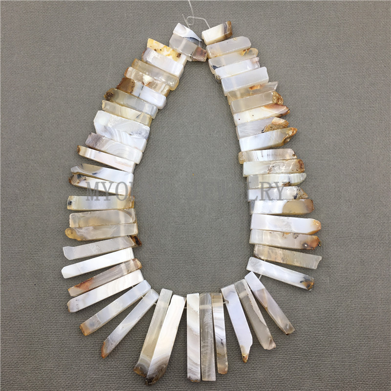 MY0588 Natural Agates Stick Slab Beads,Matte Spike Slice Point Drilled Necklace Making Beads Strand For Jewelry