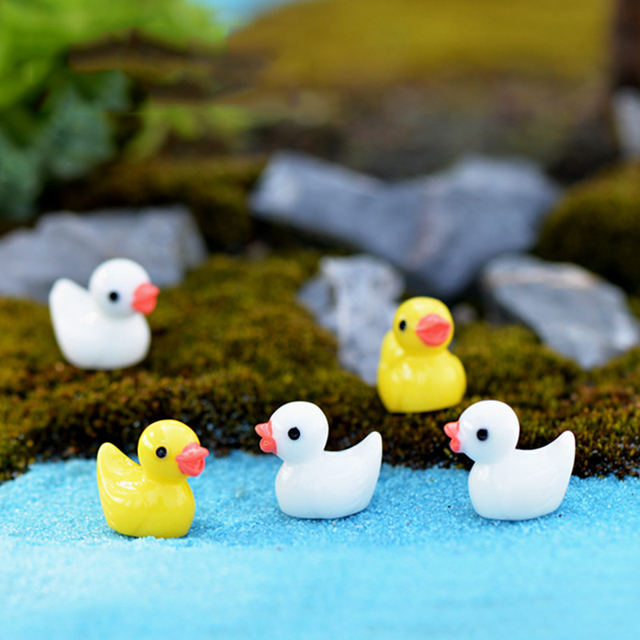 20pcs Zakka Mini Cute Ducks Beach Landscape Micro Fairy Garden Miniature  Decoration Craft Action Figures Toys