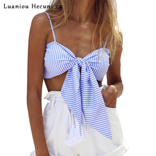 Strappy padded bustier crop tops women 2016 Party casual tube cami Bow striped shirt camisole tank top femme S019