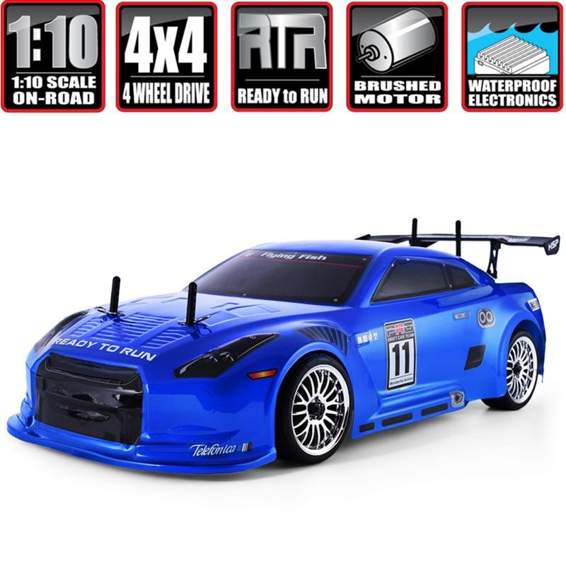 HSP RC Car 4wd 1:10 potencia eléctrica en carreras de carretera 94123 FlyingFish 4x4 Rc Drift coche vehículo alto coche de Control remoto de Hobby de velocidad-in Coches RC from Juguetes y pasatiempos    1