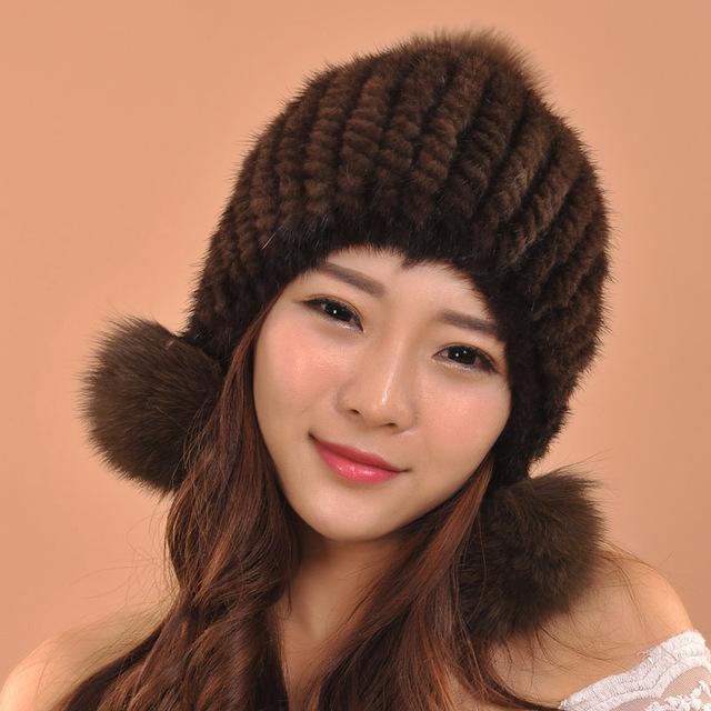Hot Selling New Women Winter Mink Fur Hat Real Mink Fur Beanies Fashion Headwear With Fox Fur Ball skullies beanies
