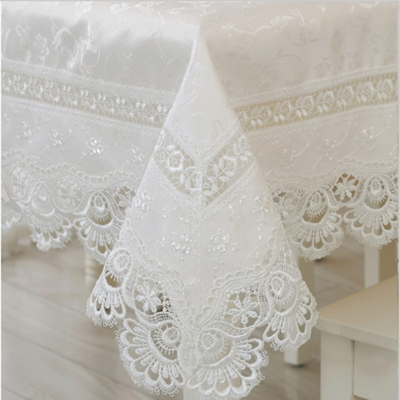 Embroidery Lace Tablecloth Table Linen Tablecloth White Lace Tablecloth  Table Cloth Round Tablecloth Cover Towels(