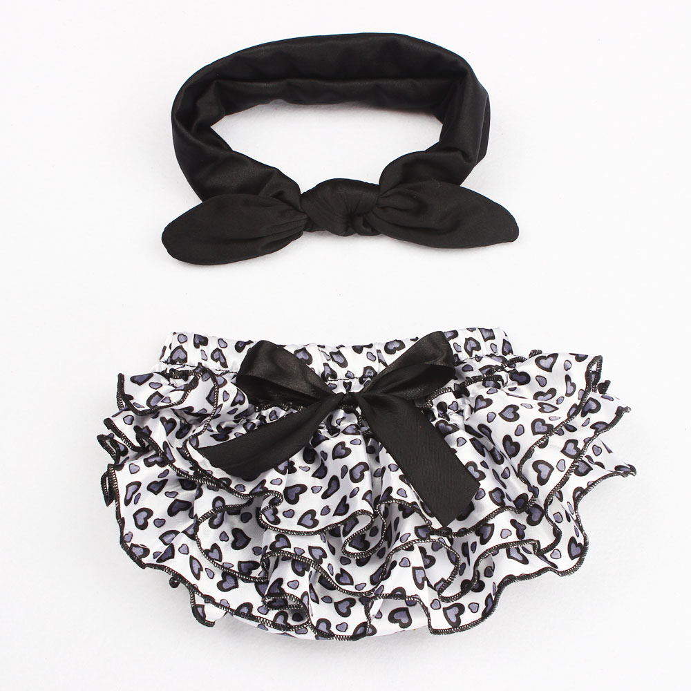 Baby Girl Newborn Headband+Ruffle Shorts Bloomers Outfit Set Photography Props