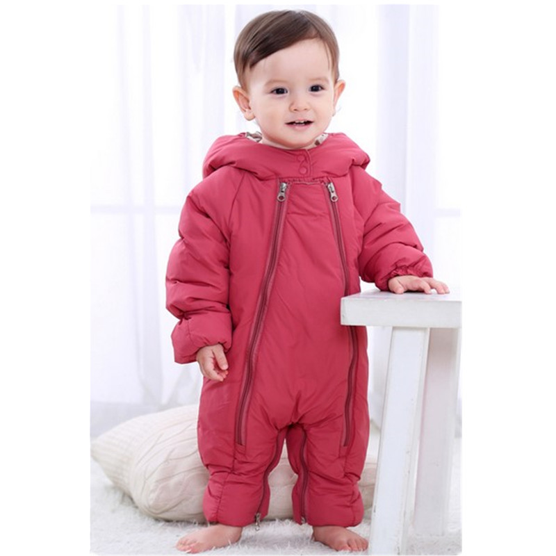 2017 Winter Cute Baby Long Sleeve Overalls Baby Rompers  Bobycon Jumpsuit Newborn Boy Girl Rompertjies With Hooded Outwear B0261 newborn baby boy rompers overalls long sleeve infant jumpsuit clothing cotton monkey girl children pajamas costumes outwear