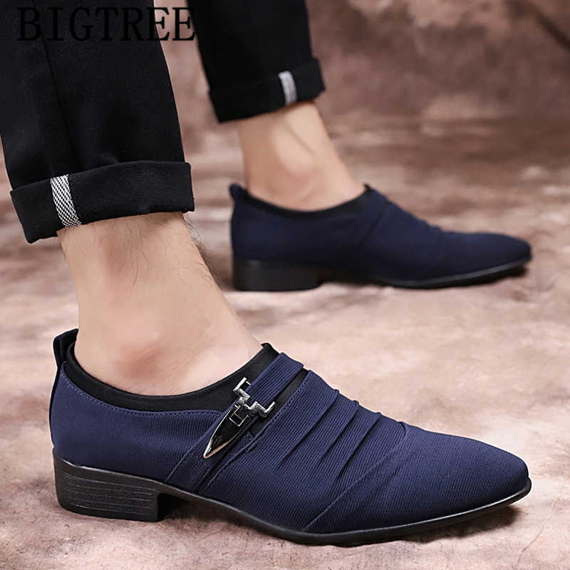 2020 Pointed Toe Mens Canvas Shoes