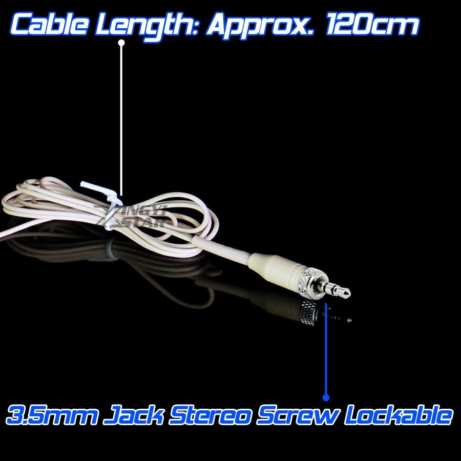 Бежевый 3,5 мм разъем стерео винт замок двойной Заушник микрофон гарнитура микрофон для беспроводной Beltpack XSW1 EW100 EW300 EW500