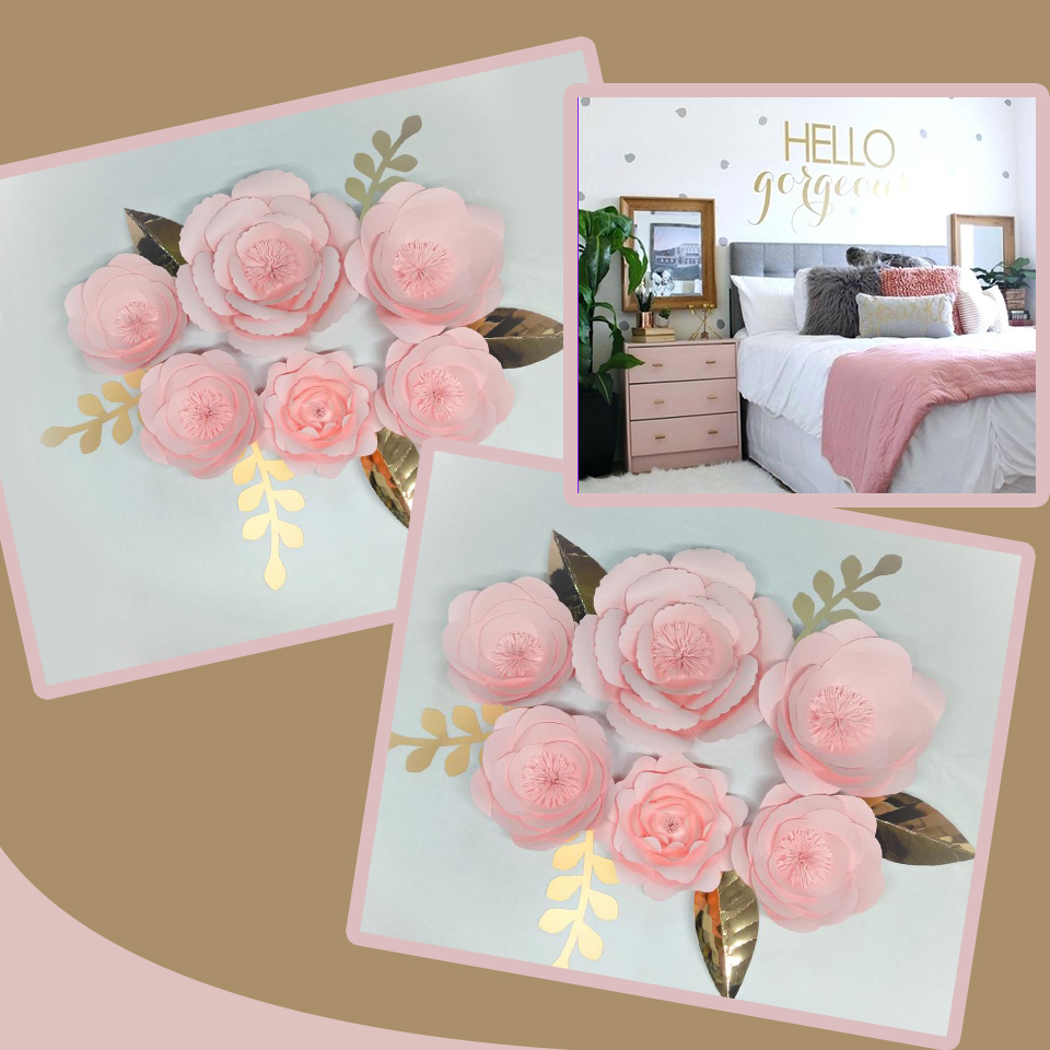 Us 41 89 29 Off 2018 Diy Giant Paper Flowers Backdrop 6pcs Leaves 6pcs Wedding Event Baby Nursery Decor Baby Pink Home Decor Tutorials In Party