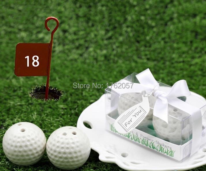 Fashionable Design White Golf Ball Ceramic Salt and Pepper Shakers Bridal Shower Favors 80pcs 40boxes lot