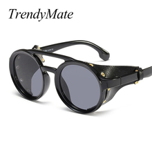 2019 Cool Fashion SteamPunk Style Round Sunglasses Leather Side Shield
