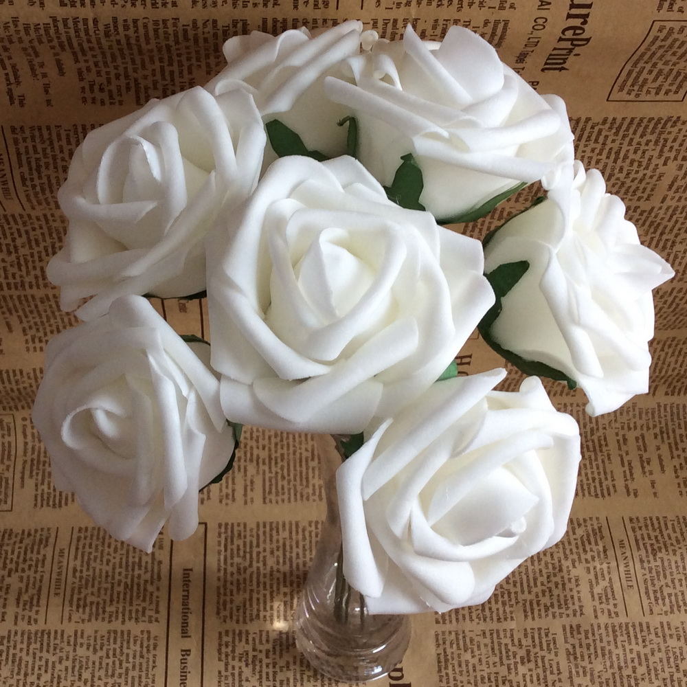 100 Heads White Wedding Flowers Wholesale White Rose Artificial Foam
