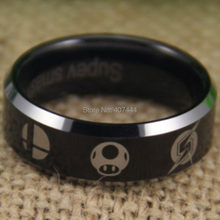 Free Shipping USA UK Canada Russia Brazil Hot Sales 8MM Metroid/Pokemon/Mario bros/Star/Fox/Zelda Super Smash Bros Tungsten Ring(China)